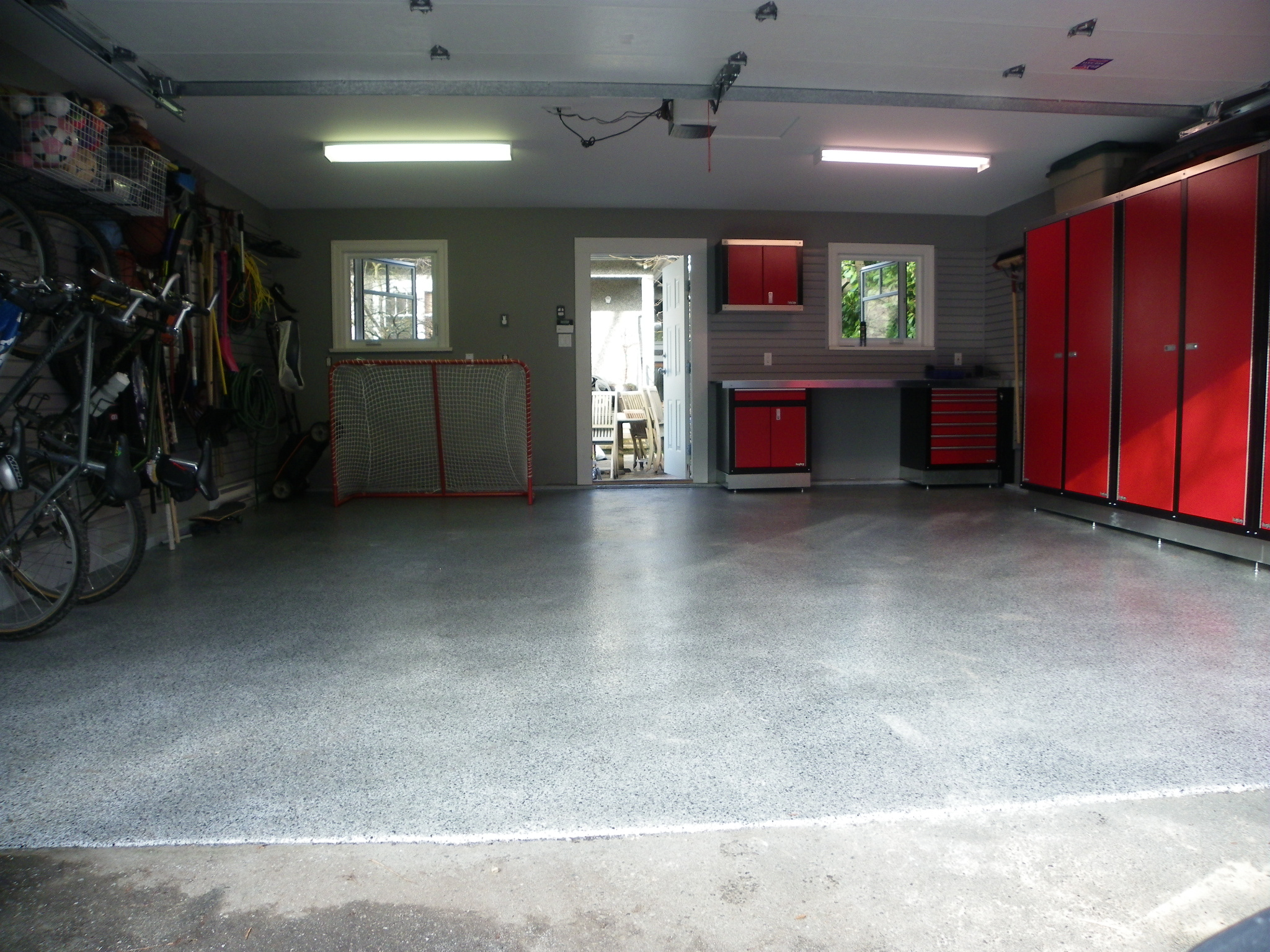 Dream garage garage cabinets garage floor tiles - Additionally West Coast Dream Garage Offers Custom Garage Wood Or Laminate Cabinets Made Locally Custom Designed With Those Extra Features